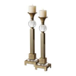 Carolyn Kinder - Carolyn Kinder Euron Candlestick / Candle Holder X-28691 - Coffee Bronze plated metal with crystal accents. Distressed ivory candles included.