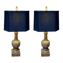 New Pair Of Wood Balastrudes Mounted As Lamps With Silk Shades