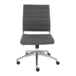 Eurostyle - Axel Low Back Office Chair without Arms-Gray/Aluminum - Leatherette seat and back over foam