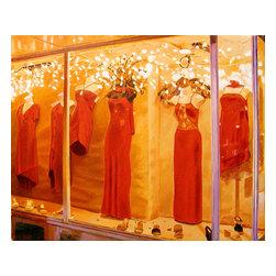 Red Garments, Original, Painting - Urban landscape still life of latino department store window display on Main Street at night.