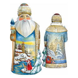 """Artistic Wood Carved Winter Beacon Santa Claus Sculpture - Measures 11.5""""H x 5.25""""L x 4.75""""W and weighs 4 lbs. G. DeBrekht fine art traditional, vintage style sculpted figures are delightful and imaginative. Each figurine is artistically hand painted with detailed scenes including classic Christmas art, winter wonderlands and the true meaning of Christmas, nativity art. In the spirit of giving G. DeBrekht holiday decor makes beautiful collectible Christmas and holiday gifts to share with loved ones. Every G. DeBrekht holiday decoration is an original work of art sure to be cherished as a family tradition and treasured by future generations. Some items may have slight variations of the decoration on the decor due to the hand painted nature of the product. Decorating your home for Christmas is a special time for families. With G. DeBrekht holiday home decor and decorations you can choose your style and create a true holiday gallery of art for your family to enjoy. All Masterpiece and Signature Masterpiece woodcarvings are individually hand numbered. The old world classic art details on the freehand painted sculptures include animals, nature, winter scenes, Santa Claus, nativity and more inspired by an old Russian art technique using painting mediums of watercolor, acrylic and oil combinations in the G. Debrekht unique painting style. Linden wood, which is light in color is used to carve these masterpieces. The wood varies slightly in color."""
