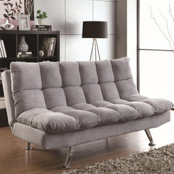 Coaster Light Grey Sofa Bed 500775 - It is upholstered in a light grey teddy bear fabric that is perfect for any living room, loft, or apartment. And it can be used as a sofa or a bed, depending on your needs.