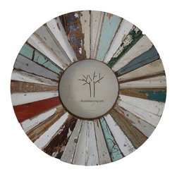 Porthole Frames - Perfect for your coastal home or beach home decor, these Porthole Frames feature mixed and matched strips of old floor and ceiling wood in varying colors and levels of distress. This distressed look of the wood is a common find in beach home decor. Insert your favorite photographic memory in this reclaimed wood round frame. Comes complete with backing and undeniably screams one-of-a-kind.