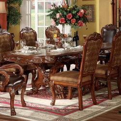 "Acme Furniture - Double Pedestal Dining Table in Cherry Oak - Double Pedestal Dining Table in Cherry Oak; Finish: Cherry Oak; Dimensions: 46""W x 76""-108""L, Inc 2x16"" Lf"