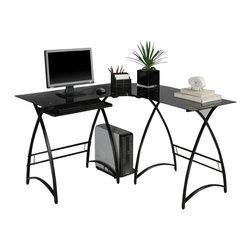 Walker Edison - Walker Edison L-Shape Glass Computer Desk in Black - Walker Edison - Computer Desks - D51AL30B - This contemporary desk offers a sleek modern design crafted with durable steel and thick tempered safety glass. This L-shape desk provides a corner wedge for more space and the design creates a look that is both attractive and simple. Flexible configuration options allow you to mount the keyboard tray on either side of the desk. Also included are a universal autonomous CPU stand and a sliding keyboard tray.  This desk compliments any room and is a great addition to any home office.   Features: