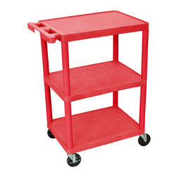 """Luxor - Luxor Transport Cart - HE34-RD - The HE34 is a three shelf utility cart made of high density polyethylene structural foam molded plastic shelves and legs that won't stain, scratch, dent or rust. Features a retaining lip around the back and sides of flat shelves. Includes four heavy duty 4"""" casters, two with brake. Has a push handle molded into the top shelf. All shelves are reinforced with two aluminum bars."""