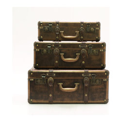 Three's a Charm Suitcases - Set of 3 - Reminisce about vacations gone by with these decorative suitcases. These three rustic suitcases will remind you to pack up and have an adventure.