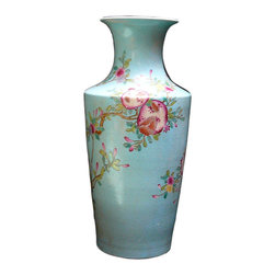 Hvs858 - Chinese Blue Base Color Pomegranate Bird Porcelain Vase - This is a vintage reproduction of Qing dynasty style porcelain vase with blue theme color and pomegranate and bird graphic.