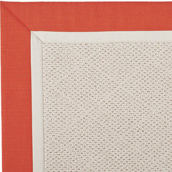 Frontgate - Outdoor Parkdale Rug in Sunbrella Red/Off-White White Wicker - 5' x 8' - Wicker-textured base is woven in soft and durable olefin. Choose from two base colors on White Wicker borders. Cleans with soap and water. Sunbrella® fabric is resistant to fading, staining, and mildew. Rug pad recommended (sold separately). Our Parkdale Rug with colorful borders match the premium all-weather fabrics featured on our replacement cushions, pillows, draperies and umbrellas. This all-weather rug will work just as beautifully indoors as it does outside.  .  .  . Sunbrella fabric is resistant to fading, staining, and mildew .  . Made in the USA.
