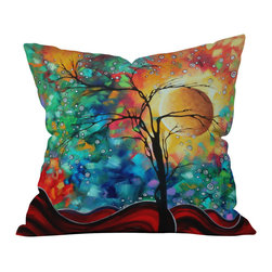 DENY Designs - madart inc Bursting Forth Outdoor Throw Pillow - Do you hear that noise? it's your outdoor area begging for a facelift and what better way to turn up the chic than with our outdoor throw pillow collection? Made from water and mildew proof woven polyester, our indoor/outdoor throw pillow is the perfect way to add some vibrance and character to your boring outdoor furniture while giving the rain a run for its money. Custom printed in the USA for every order.