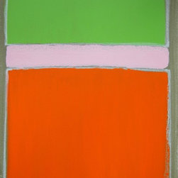 """""""Carrot-ko"""" Artwork - This painting is part of a series entitled """"In the name of"""". where I choose artists who have inspired me and paint with their body of work in mind.  Background: During a recent visit to MoMA in NYC I was moved by Mark Rothko's painting No.10. Although I started this painting with No. 10 in mind, I finished it with thoughts of  my recent visit to Carrot Creative during the same trip. I felt fortunate to meet Carrot founder Mike Germano, some of the Carrot staff and friends of Carrots. They were all fun, intelligent and kind indivduals. Just the kind of folks you'd want on your creative team. I was offered this opportunity because my talented daughter Rianna is a carrot as well.  The undiluted cadmium orange I used as my primary color brought the bold new office of Carrot Creative into my thought stream as I painted. The wonderful sense of open space in their office is reflected in the orange color block. The edges are uneven, and purposefully so. Pink hovers above as a way to remind us that the unexpected is a good thing, in art and in business. I can visualize this painting in the Carrot foyer, over their funky orange couch or even over their mobile beer tap. Carrot Creative is a Brooklyn-based new media agency and was the muse to complete this painting."""