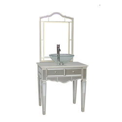 "Benton Collection - 30"" Mirrored Vessel Sink Vanity W/ Matching Mirror - Aslton Model # Bwv-015/30 - Dimensions: 30 x 22 x 31""H"