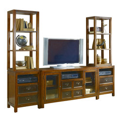Hammary - Hammary Mercantile 3-Piece Unit Entertainment Center - 3 unit entertainment center belongs to Mercantile collection by create a focal point in your living space that is both stylish and purposeful with this television wall unit from the Mercantile collection. Finished in a warm whiskey color, this casually styled-piece offers clean lines with straight square legs and a splash of character found in the accent metal hardware. A wide variety of open and closed storage spaces provide the-piece with organization opportunities and a place to showcase your favorite decorative accessories. This wall unit features two glass-front doors with one adjustable shelf behind each, six drawers - the top drawer on the center console includes a drop-front for use with media components, and three open compartments where DVD players, DVRs, and any other electronic accessories can be stored. Four open adjustable shelves - two on each flanking pier - provide the perfect place to display family photos and other items of your choosing. Encourage relaxation in your home with the fashion and function this entertainment wall unit from the Mercantile collection has to offer.
