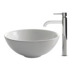 Kraus - Kraus C-KCV-141-1007SN White Round Ceramic Sink and Ramus Faucet - Add a touch of elegance to your bathroom with a ceramic sink combo from Kraus