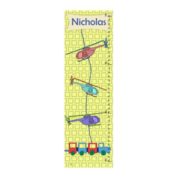 Green Leaf Art - Helicopters Personalized Canvas Growth Chart - 10W x 39H in. Multicolor - YS2806 - Shop for Growth Charts from Hayneedle.com! Watch your little pilot get bigger with the Helicopters Personalized Canvas Growth Chart - 10W x 39H in. It's true that they grow up too fast and a keepsake of their growth is the perfect way to look back on the years. Kids love to see how much they've grown and parents love to reminisce. This sweet chart is a darling memento you'll cherish as a family.