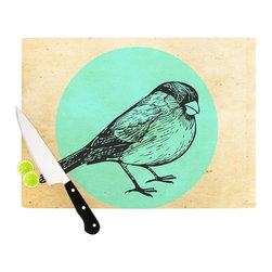 """Kess InHouse - Sreetama Ray """"Old Paper Bird"""" Teal Circle Cutting Board (11"""" x 7.5"""") - These sturdy tempered glass cutting boards will make everything you chop look like a Dutch painting. Perfect the art of cooking with your KESS InHouse unique art cutting board. Go for patterns or painted, either way this non-skid, dishwasher safe cutting board is perfect for preparing any artistic dinner or serving. Cut, chop, serve or frame, all of these unique cutting boards are gorgeous."""