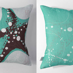Kaypee Soh - Starfish Vintage Pillow - Teal - Another fun take on the beauty of oceans most exotic creatures, with added textures and colors. 100% LinenHidden red zipper closureFeather/down hypoallergenic insertHandmade in USA