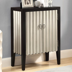 Monarch - Black/Silver Contemporary Bombay Chest - Turn your home into a designers dream with this contemporary black and silver bombay chest. 1 large shelf behind the doors for ample storage as well as beautiful oval satin nickle pull rings for sophisticated style.