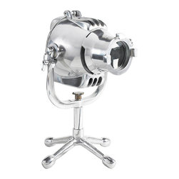 """Inviting Home - Cinema Lamp - Cinema lamp hand cast airplane aluminum; 12-3/4"""" x 11-3/4"""" x 19-3/4""""H; Unique Cinema light on a table stand. Hand cast airplane aluminum. Industrial look 1920s? Looks like a giant ��_Jack��_ game piece. Wonderful juxtaposition of parts make one harmonious whole! Cinema lamp is a superb statement fitting unusual and independent minded interiors. UL approved - dry location - plug-in."""