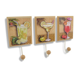 Zeckos - Set of 3 Decorative Tropical Cocktail Wall Hooks - This trio of wall hooks adds a fun accent to tiki bars and rooms with tropical decor, featuring a mojito, a margarita, and a strawberry daiquiri with their respective garnishes. Made of wood composite, each plaque measures 9 inches long, 4 3/4 inches wide, 2 1/4 inches deep and mounts to the wall with a single nail or screw by the keyhole hanger on the back. They are perfect for hanging lightweight items like hats, aprons, or bar towels and they add a cheerful accent to any room.