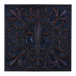 """BZBZ69241 - Impressive Fleur-De-Lis Themed Wall Plaque Decor - Impressive Fleur-de-Lis Themed Wall Plaque Decor. A deep bronze version of the fleur-de-lis, a symbol that is rich with European history, meaning """"flower of a lily"""". What had started out as an artistic decoration in medieval Europe has grown to become political emblems, and symbols of royalty. The perfect wall plaque to place on a grand living room wall, or at the end of a long hallway."""