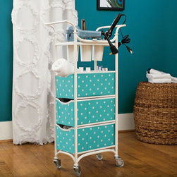 Storage Cart - This storage cart is perfect for a small bathroom. Store all of your necessary supplies in the bins, and keep your hair dryer, flat iron, etc. in the storage cups. When you're done primping, just roll the bin away.
