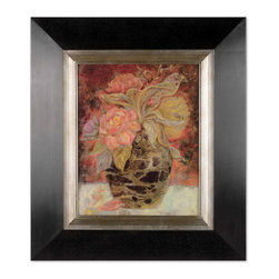 Uttermost - Uttermost 33439  Floral Bunda Framed Art - This oil reproduction features a hand applied dabb finish. the wood frame has a distressed black finish with a silver leaf inner lip with gray glaze.