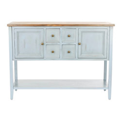 Safavieh - Charlotte Sideboard - Charlotte is a godsend for those in dire need of extra storage. The sideboard, with its charming distressed light-blue finish and crafted from solid elm wood, features four drawers, two cabinets and bottom shelf. Charlotte proves the perfect companion to country styled kitchens, living rooms and dens. Minor assembly required.