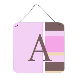 Caroline's Treasures - Letter A Initial Monogram - Pink Stripes Aluminium Metal Wall Or Door Print - Great for inside or outside these Aluminum prints will add a special touch to your kitchen, bath, front door, outdoor patio or any special place.  6 inches by 6 inches and full of color.  This item will take direct sun for a while before it starts to fade.  Rust and Fade resistant.  Aluminum Print with Hanging Rope.  Rounded Corners.