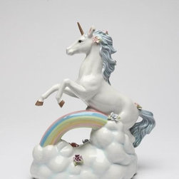 CG - White Unicorn with Blue Mane Above Rainbow and Clouds Music Box - This gorgeous White Unicorn with Blue Mane Above Rainbow and Clouds Music Box has the finest details and highest quality you will find anywhere! White Unicorn with Blue Mane Above Rainbow and Clouds Music Box is truly remarkable.