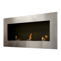 "Ignis Products - Optimum Wall Mounted / Recessed Ventless Bio Ethanol Fireplace - Bring a touch of elegance and sophistication to your modern space with the Optimum Recessed Ventless Ethanol Fireplace. This ventless fireplace is just the thing to give any room the ambiance of an open-flame fireplace without the mess or the fuss. This 18000-BTU fireplace uses eco-friendly bio ethanol fireplace fuel to keep a large area toasty warm and comfortable for up to five hours per burner refill. With this fireplace, you don@_t need a chimney, and no electric or gas lines are required, so you can use it virtually anywhere you@_d like. It features an eye-catching six-inch stainless steel frame with three burners that are set inside a black powder-coated inset for a look that is contemporary and sleek. Dimensions: 59"" x 27.5"" x 9"". Features: Ventless - no chimney, no gas or electric lines required. Easy or no maintenance required. Easy Installation - Can be mounted directly on the wall or recessed (mounting brackets included). Capacity: 1.5 Liter per Burner. Approximate burn time - 5 hours per Burner per refill. Approximate BTU output - 6000 per Burner (Total BTU ~18000)."