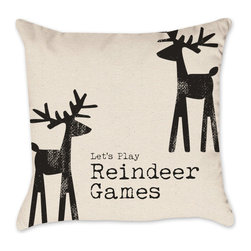 Reindeer Christmas Pillow Cover - Cotton Duck Natural Throw Pillow Cover, 16x16 - Check out our Christmas pillow line!  We love the holidays and have been working as hard as Santa's elves designing pillows!