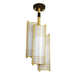 Oriental Unlimted - Kamakura Japanese Bamboo Hanging Lantern - Includes 3 light bulb sockets, a power cord and hardware for professional installation directly into the ceiling. Elegant overhead light fixture crafted with classic Japanese design elements. Distinctive Asian accent for the dining room, living room or professional office. Elegant cylinder shapes and ringed lattice design. UL approved wiring, sockets, power cord and switch. Use type A medium base 40W light bulbs. Minimal assembly required. 15 in. W x 41.5 in. H (6 lbs.). Power cord: 65 in. L