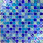 "Glass Tile Oasis - Dark Blue Blend 3/4"" x 3/4"" Blue 3/4"" Squares Glossy & Iridescent Glass - Sheet size:  12"" x 12""        Tile Size:  3/4  "" x 3/4""        Tiles per sheet:  196        Tile thickness:  1/4""        Grout Joints:  1/8""        Sheet Mount:  Plastic Face     Sold by the sheet    -"