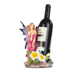 GSC - 9.75 Inch Pink Fairy with Flowers Wine Holder - This gorgeous 9.75 Inch Pink Fairy with Flowers Wine Holder has the finest details and highest quality you will find anywhere! 9.75 Inch Pink Fairy with Flowers Wine Holder is truly remarkable.