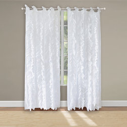 None - Waterfall Voile Cotton Pair of Tab Top Curtain Panels - Ruffles of soft sheer voile fabric are carefully sewn to a white background on the face of this frayed-edge sheer panel pair,giving it a shabby chic look and feel. This romantic style coordinates with a variety of color themes.