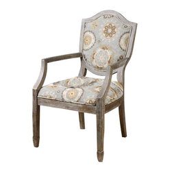 """Uttermost Valene Weathered Accent Chair - An organic pattern in misty, mineral blues and pebble tans on a deeply weathered, solid birch classic with carved shield back and spade feet. An organic pattern in misty, mineral blues and pebble tans on a deeply weathered, solid birch classic with carved shield back and spade feet. Seat height is 19""""."""