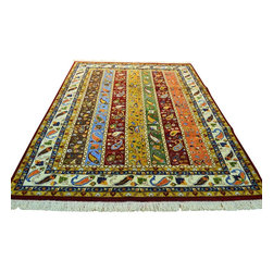 Colorful Area Rug, Kashkuli Lori Buft 6'X8' 100% Wool Hand Knotted Rug SH8702 - This collections consists of well known classical southwestern designs like Kazaks, Serapis, Herizs, Mamluks, Kilims, and Bokaras. These tribal motifs are very popular down in the South and especially out west.
