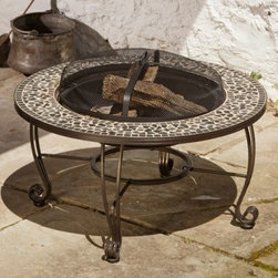 Alfresco Home Vulcano 33.5 in. Fire Table - The Alfresco Home Vulcano 33.5 in. Fire Table creates the soothing heat and cozy ambiance you've been looking for in a backyard fire pit. Sitting atop a sturdy iron frame is the ceramic tile surface, the main attraction here. These small tiles are arranged in a beautiful mosaic that's unique to every individual model. In the center of the table is an extra-wide 19.34-inch bowl that burns with enough heat for you and your friends to gather around comfortably and roast marshmallows. The table itself measures 33.5L x 35W x 17.75H inches and includes a mesh dome that allows you to get close to the flames without worry of what may crackle or pop from the wood.About Alfresco HomeOffering a wide selection of fashionable products, from casual furniture and garden lighting to permanent botanicals and seasonal decor, Alfresco Home casual living products offer a complete line of interior and exterior living furnishings and accents. Based out of King of Prussia, Penn., Alfresco Home continues to blend indoor and outdoor furniture to create a lifestyle of alfresco living inside and outside of the home. Inlaid mosaic tabletops, fine hardwood furnishings, artisan-inspired accents, premium silk botanicals, and all-weather wicker sets are just a few examples of the kind of treasures you'll find in Alfresco's specially designed collections.Please note this product does not ship to Pennsylvania.
