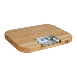 John Boos - Boos Maple Aztec Carving Board with Mini Pyramids, Groove & Pan - The Boos Aztec Board includes miniature pyramids to hold food in place, a full juice groove and nested steel pan. Measures 24x14x2-1/4 in. Model AZ2418225-P-LG