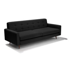 Lounge22 - Chelsea Modern Sofa, Napa Smoke - With its simple lines and classic walnut legs, the Chelsea sofa compliments any aesthetic. Whether in classic ebony, or a more flamboyant seamist, this sofa makes its own statement in any surrounding.  Made in the United States.
