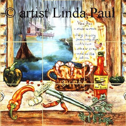 """Louisiana Kitchen Backsplashes Tile Mural - Louisiana Kitchen by artist Linda Paul with a bayou, crab shack, hanging garlic, old New Orleans wood shutter, blue crab, red and green peppers, okra, celery, gumbo bowl, gator bait hot sauce & bayou to do (voodoo) list   .  Available in various sizes on marble tiles. Size is picture in is  36"""" x 18"""""""