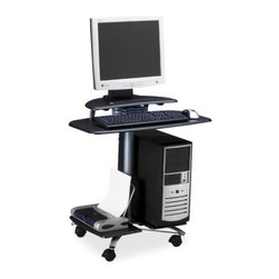 """Mayline - Computer Workstation, Mobile, 28-1/2""""x26""""x29-1/2"""", Charcoal Black - Mobile PC Station is designed for flat panel monitors. Wide work surface accommodates keyboard and mouse. Lower platforms hold printer and CPU. Computer work station has slots for three CDs, four locking casters and a metallic gray powder-coated tubular steel frame. -Product Type: Workstation. -Table Top Shape: Rectangle. -Casters: 4 - Locking. -Recycled: No. -Recycled Content: 0%. -Post-consumer-waste%: 0%. -Assembly Required: Yes. -Color: Charcoal Black. -Color: Metallic Gray Frame. -Brand Name: Tiffany. -Manufacturer: Mayline Group. -Product Name: Mobile PC Workstation. -Dimensions: 27"""" Width x 22.50"""" Depth x 29"""" Height. -Finishing: Powder Coated. -Manufacturer Part Number: 948ANT. -Manufacturer Website Address: www.mayline.com. -Packaged Quantity: 1 Each. -Material: Steel Frame."""