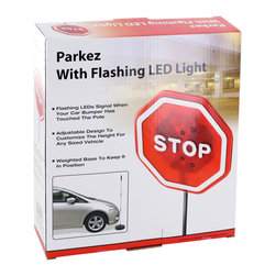 None - Park EZ Flashing Red LED Light Garage Parking Stop Sign - Park EZ assists in the perfect park job every time. Portable weighted base utilizes flexible rod with flashing led light on top that flashes when contact is made with car bumper. Perfect for virtually any car due to the adjustable base and sign itself.
