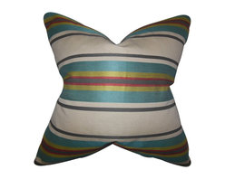 """The Pillow Collection - Osric Stripe Pillow Blue 18"""" x 18"""" - With a fresh and contemporary design, this decor pillow is a great addition to your interiors. This accent pillow features an eye-catching stripe pattern in shades of blue, green, red, gray and white. Toss this plush 18"""" pillow to your sofa, bed or seat to bring comfort and texture. Made with a blend of 70% silk, 25% cotton and 30% yard material. Hidden zipper closure for easy cover removal.  Knife edge finish on all four sides.  Reversible pillow with the same fabric on the back side.  Spot cleaning suggested."""