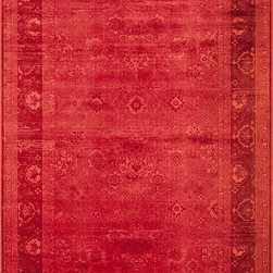 """Vogue VG-05 Red Rug - 2'3""""x7'6"""" - The Vogue collection is made of soft viscose for lustrous sheen and rich texture. Featuring vibrant jewel-tones, these designs are modern interpretations of classics. Power loomed in Turkey."""