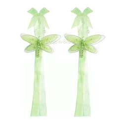 "Bugs-n-Blooms - Dragonfly Tie Backs Green Multi-Layered Dragonflies Tieback Pair Set Decorations - Window Curtains Holder Holders Tie Backs to Decorate for a Baby Nursery Bedroom, Girls Room Wall Decor - 5""W x 4""H Pink & White Multi-Layered Curtain Tieback Set Dragonfly 2pc Pair - Beautiful window curtains tie backs for kids room decor, baby decoration, childrens decorations. Ideal for Baby Nursery Kids Bedroom Girls Room.  This gorgeous 3D dragonfly tieback set is embellished with sequins, glitter and has a beaded body. This pretty dragonfly decoration is made with a soft bendable wire frame & have color match trails of organza ribbons. Has 2 thick color matched organza ribbons to wrap around the curtains.  Visit our store for more great items. Additional styles are available in various colors, please see store for details. Please visit our store on 'How To Hang' for tips and suggestions. Please note: Sizes are approximate and are handmade and variances may occur. Price is for one pair (2 piece)"
