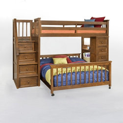 NE Kids - School House Stair Loft with Chest End - Pecan Multicolor - FUB514 - Shop for Beds from Hayneedle.com! A winning combination of practical function and contemporary style the School House Stair Loft with Chest End - Pecan makes a versatile addition to your child's room. Your child will love climbing up the staircase complete with handrail to the twin-size upper bed unit feeling quite like a grown-up. If you have a younger child you can even choose a full size lower bed so the siblings have each other for company. Three drawers on side-mounted Euro guides are integrated into the steps for handy storage while the bottom drawer is a rolling toy box to put away favorite toys at the end of the day. The five-drawer chest unit keeps clothes and socks organized even as fully integrated shelves serve as a desk to make homework time fun. Available with or without the lower bed. Offering endless possibilities to adapt to your child's sleep and storage needs this loft unit meets or exceeds CPSC requirements for safety and comes with side rails and guardrails for your peace of mind. Made of sturdy hardwoods and veneers this loft comes in non-toxic lead-free pecan finish that's sure to work well in most settings. Dimensions: Loft bed: 99.5L x 42W x 67H inches CPSC recommends the tops of the guardrails must be no less than 5 inches above the top of the mattress and that top bunks not be used for children under 6 years of age. About New Energy KidsNE Kids is a company with a mission: to create and import truly unique furniture for your child. For over thirty years they've been accomplishing this mission with flying colors one room at a time. Not only will these products look fabulous they will provide perfect safety for your children by adhering to the highest standards set by the American Society for Testing and Material and the Consumer Products Safety Commission. Your kids are in the best of hands and everyone will appreciate these high-quality one-of-a-kind pieces for 