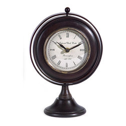 None - Argento Round Gyroscope Clock - Add a touch of old world style to your decor with this Argento traditional black metal gyroscope desk clock. This clock sits on a firm base and looks great on any desk or book shelf.