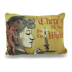 "Zeckos - There's No Rest For The Wicked Vintage Look 13 in. x 18 in. Throw Pillow - This 18 inch by 13 inch polyester indoor throw pillow adds a wonderful vintage Gothic accent to your home. Titled ""There's No Rest For The Wicked', the front of the pillow features a print of a woman carrying a candle, with a demon on her shoulder. The front print is artificially distressed, wo make it look aged and stained. The back of the pillow is solid black . Each of these pillows is crafted with pride in the Blue Ridge Mountains of North Carolina, and is a quality accent to your home. This pillow makes a great gift and is sure to be admired."